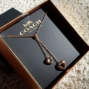 Coach Rose Gold Double Heart Slider Necklace NWT